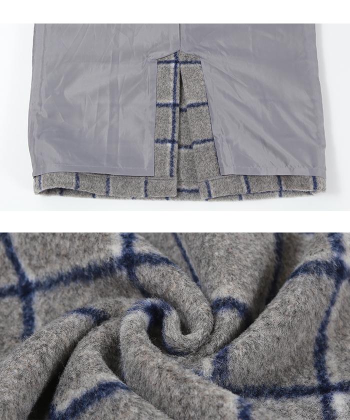 ウール混チェックタイトスカート16
