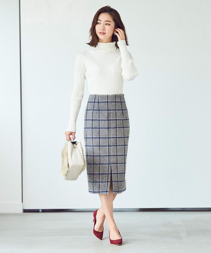ウール混チェックタイトスカート1