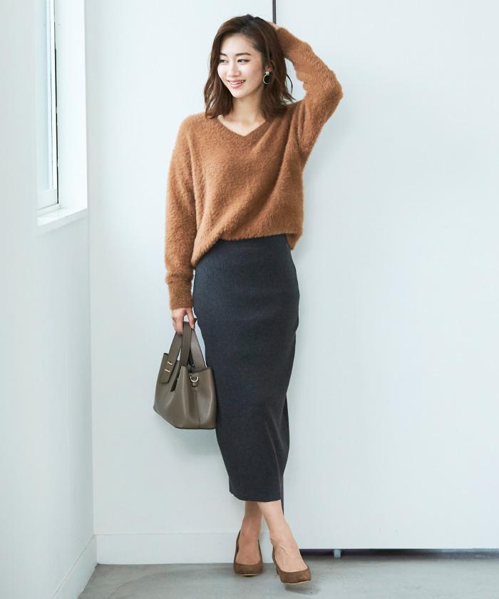 リブニットタイトスカート1