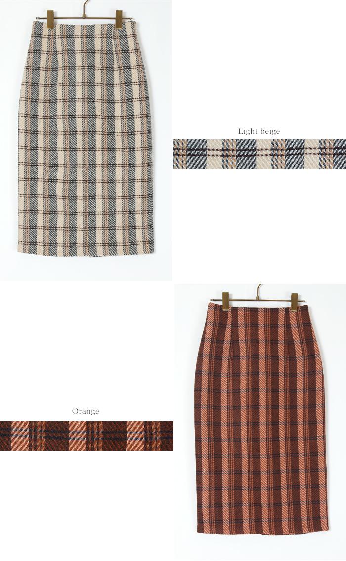 タータンチェックロングタイトスカート12