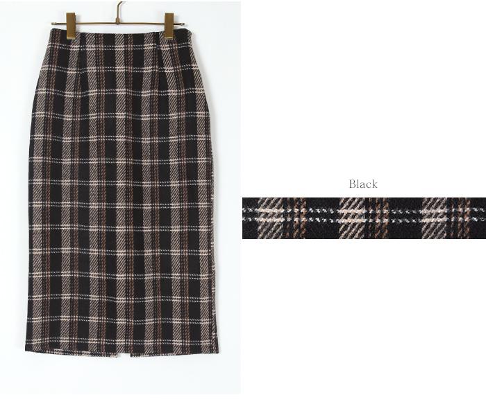 タータンチェックロングタイトスカート13