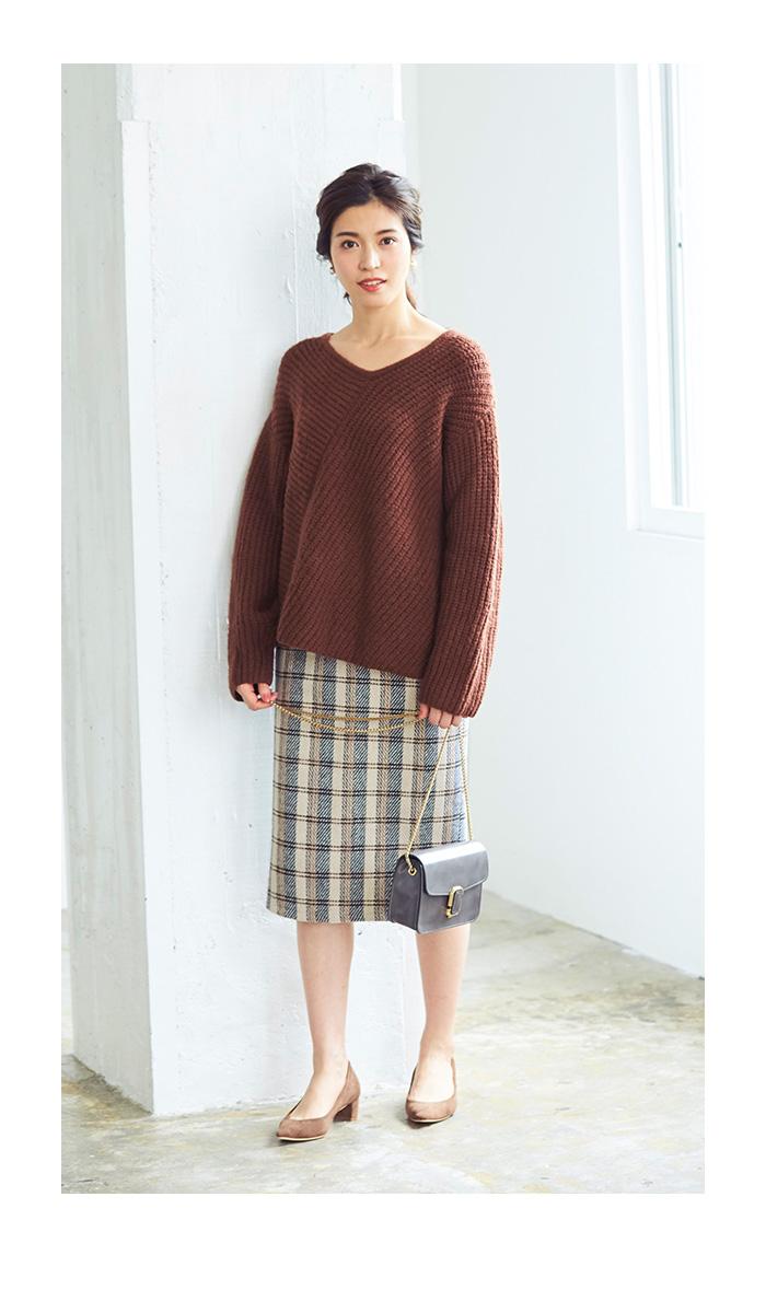 タータンチェックロングタイトスカート3