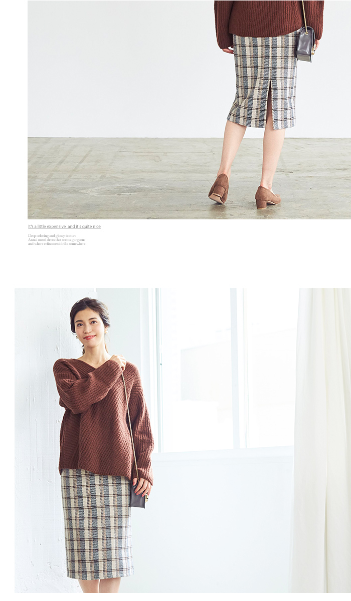 タータンチェックロングタイトスカート4