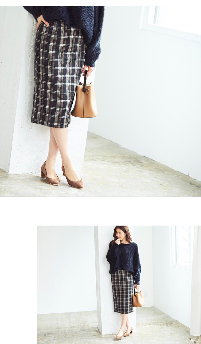 タータンチェックロングタイトスカート6