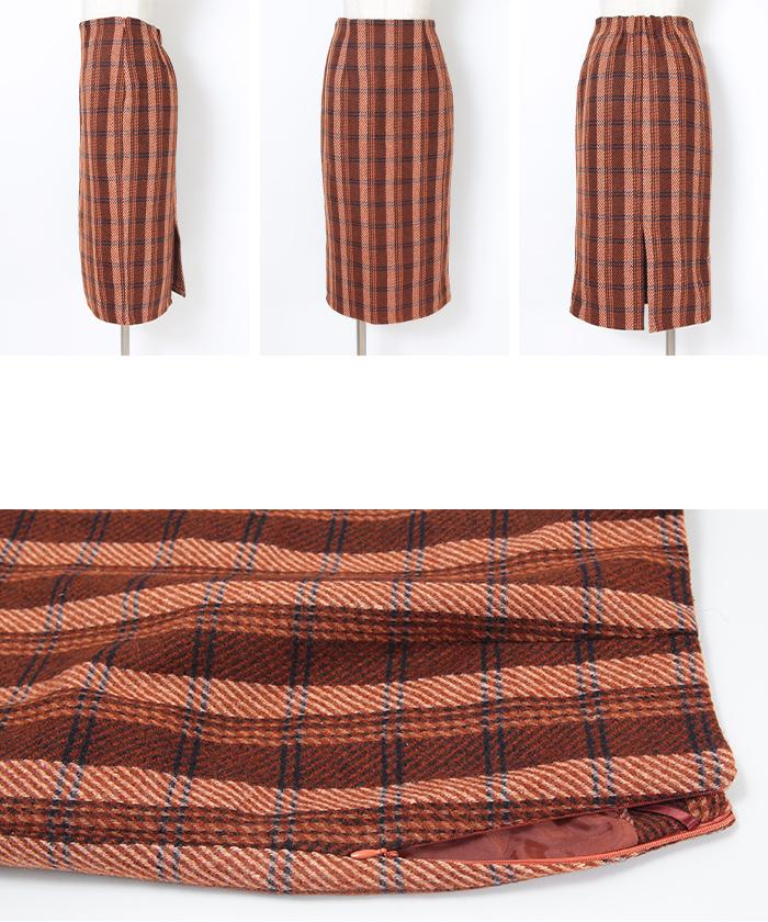 タータンチェックロングタイトスカート14