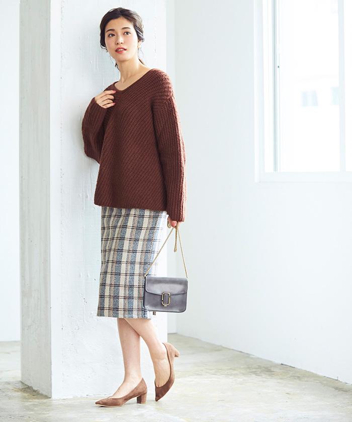 タータンチェックロングタイトスカート1