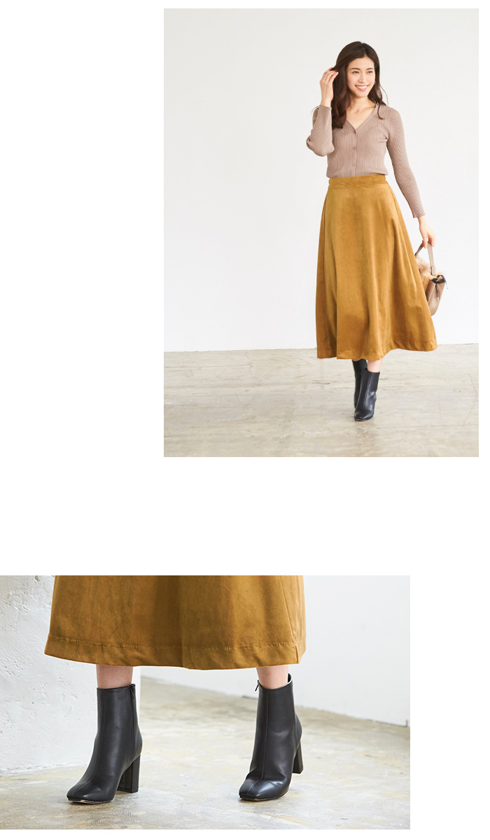 カラーフレアロングスカート4