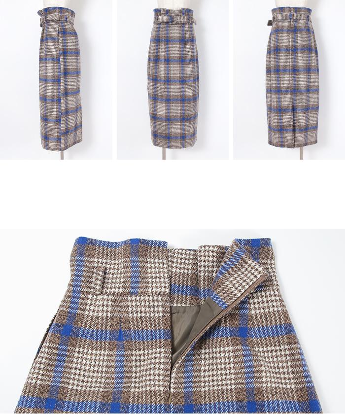 チェックハイウエストスカート14