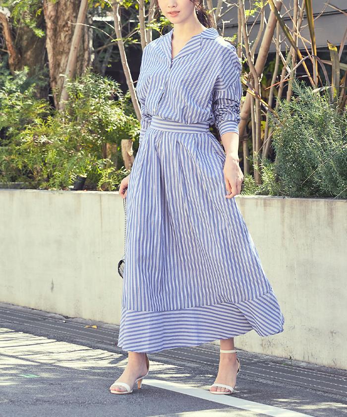ストライプシャツ×スカートセットアップ5
