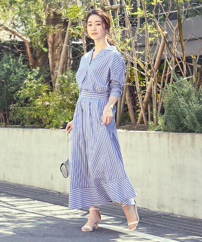 ストライプシャツ×スカートセットアップ1