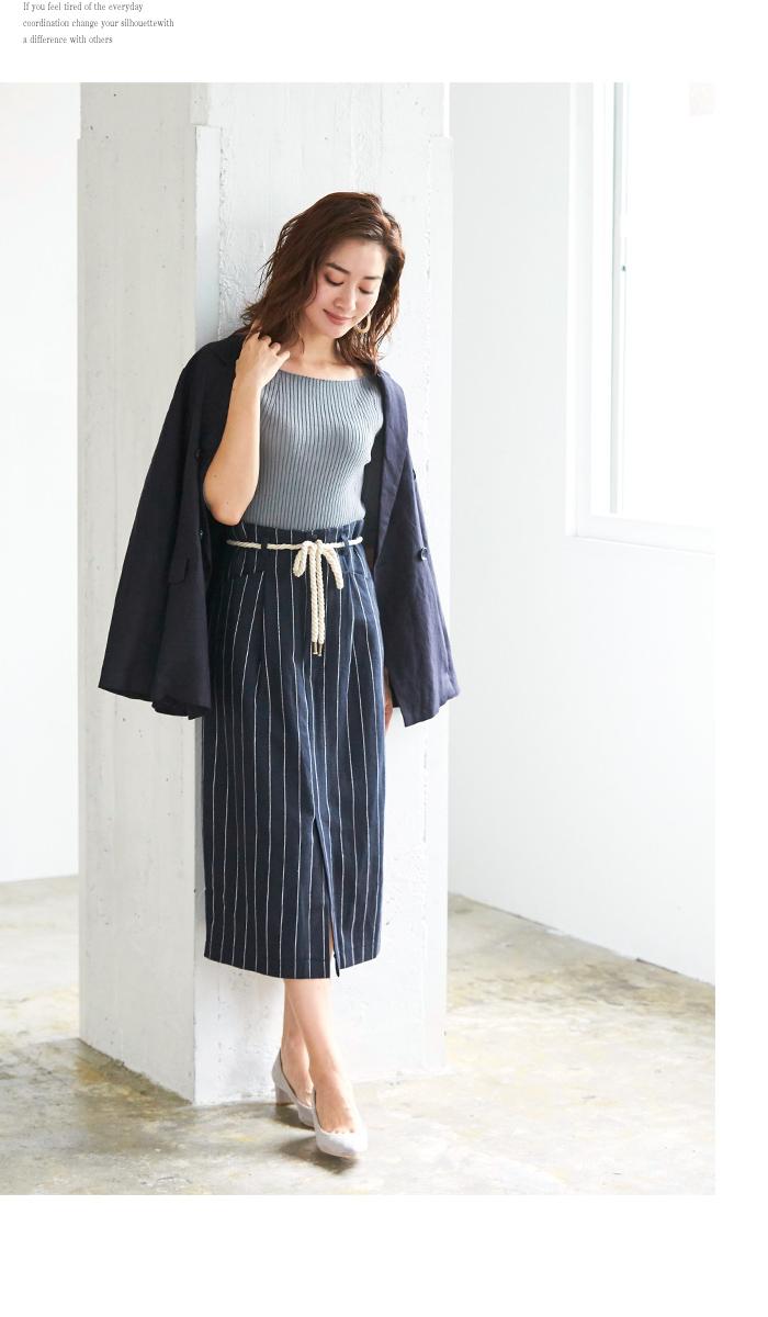 ストライプタイトスカート5