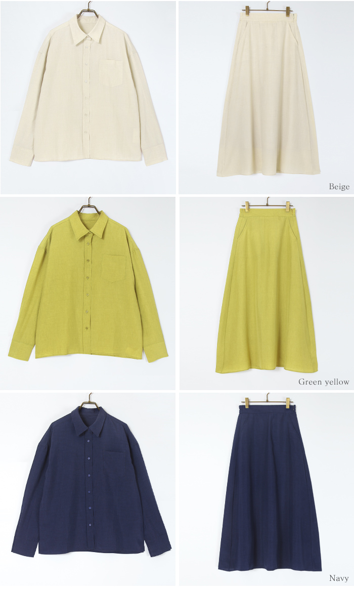 リネンライクシャツ×スカートセットアップ13