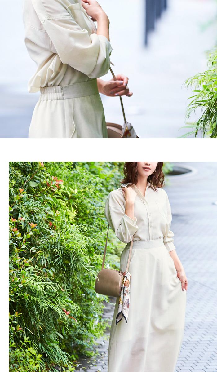 リネンライクシャツ×スカートセットアップ3