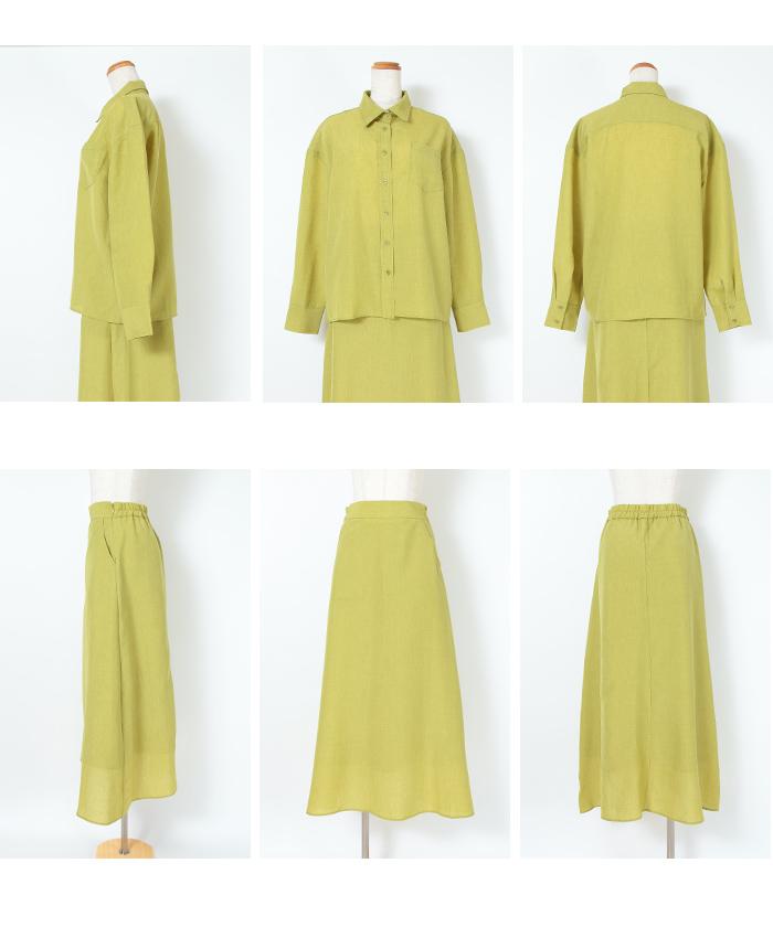 リネンライクシャツ×スカートセットアップ16