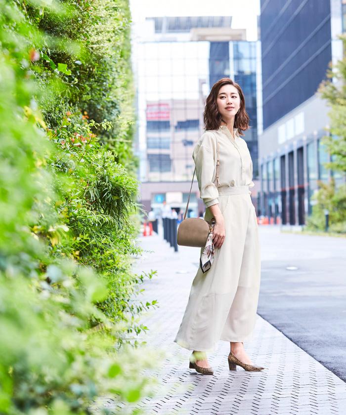 リネンライクシャツ×スカートセットアップ1