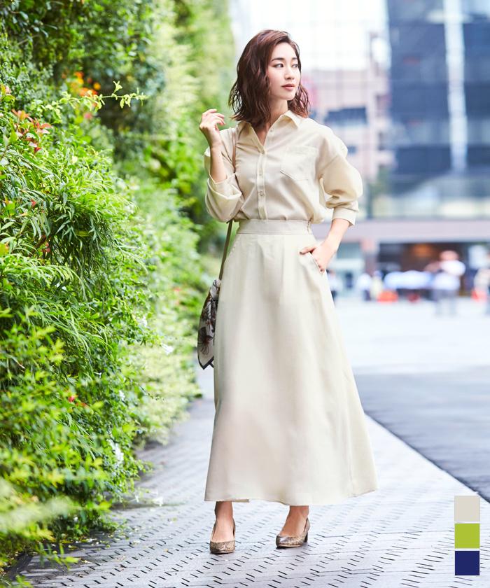 リネンライクシャツ×スカートセットアップ