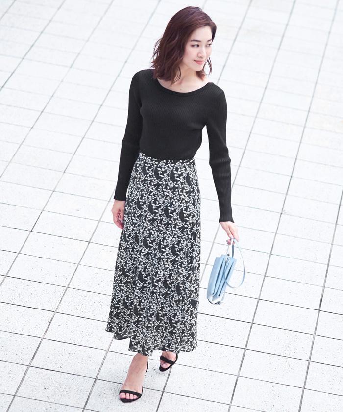 花柄Aラインスカート1