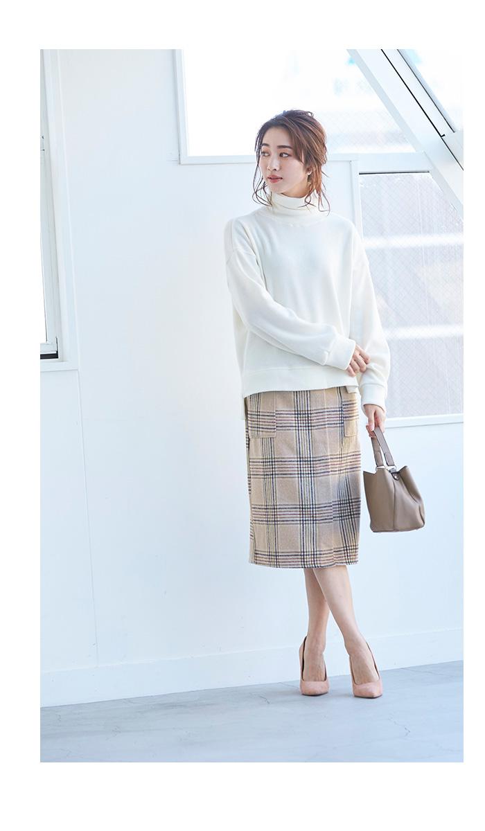 ラップ風チェックタイトスカート3