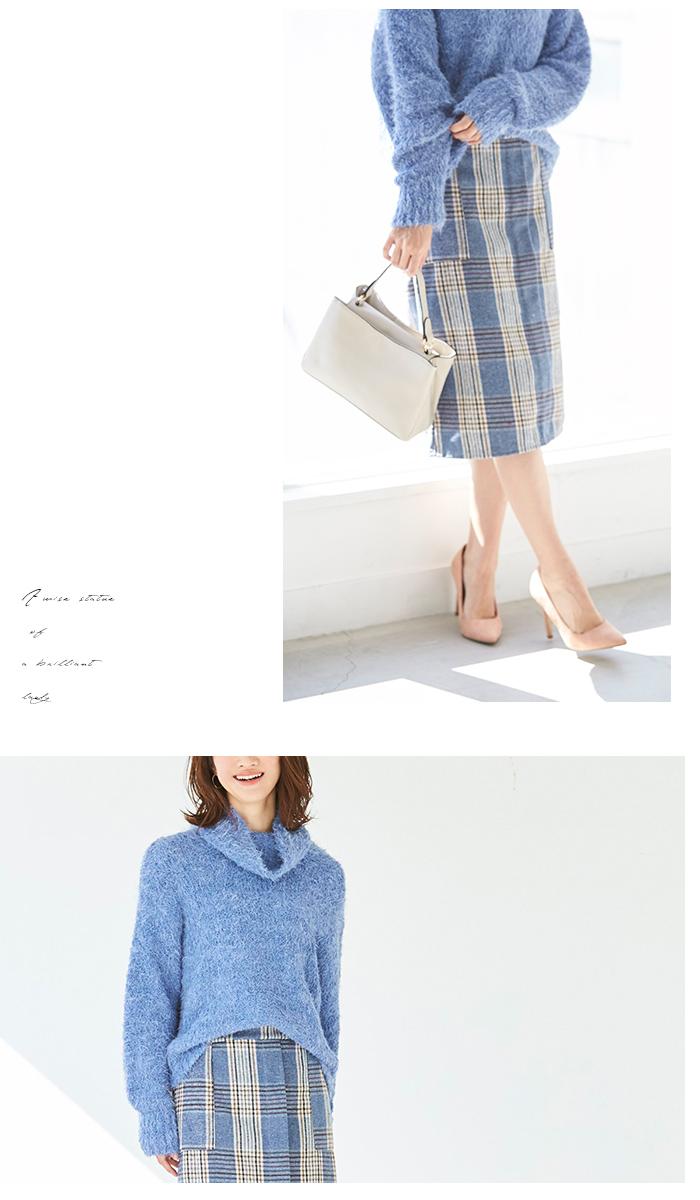 ラップ風チェックタイトスカート5