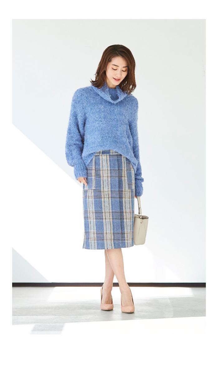ラップ風チェックタイトスカート6