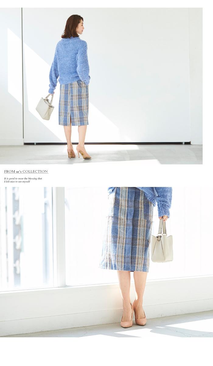 ラップ風チェックタイトスカート11