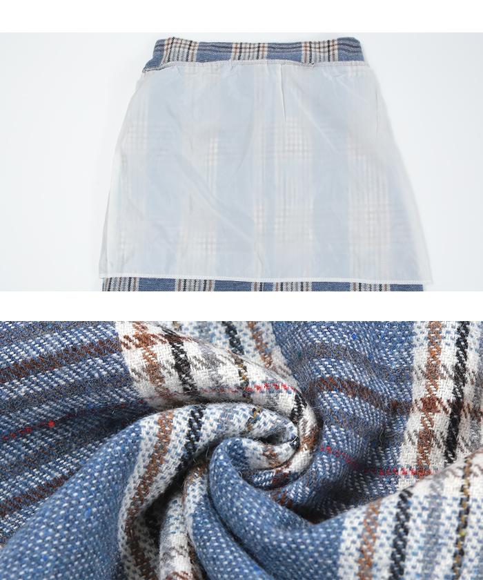 ラップ風チェックタイトスカート16