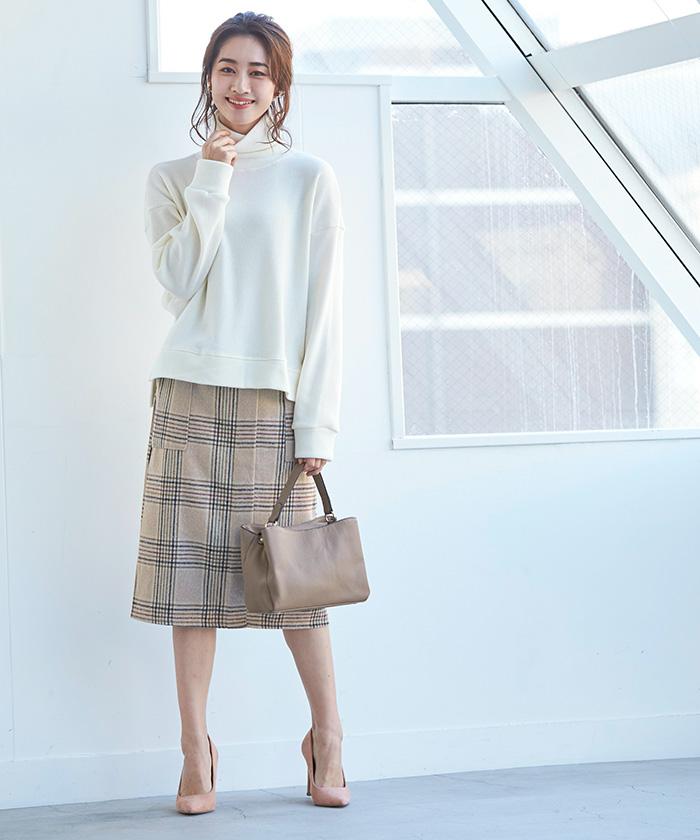 ラップ風チェックタイトスカート1