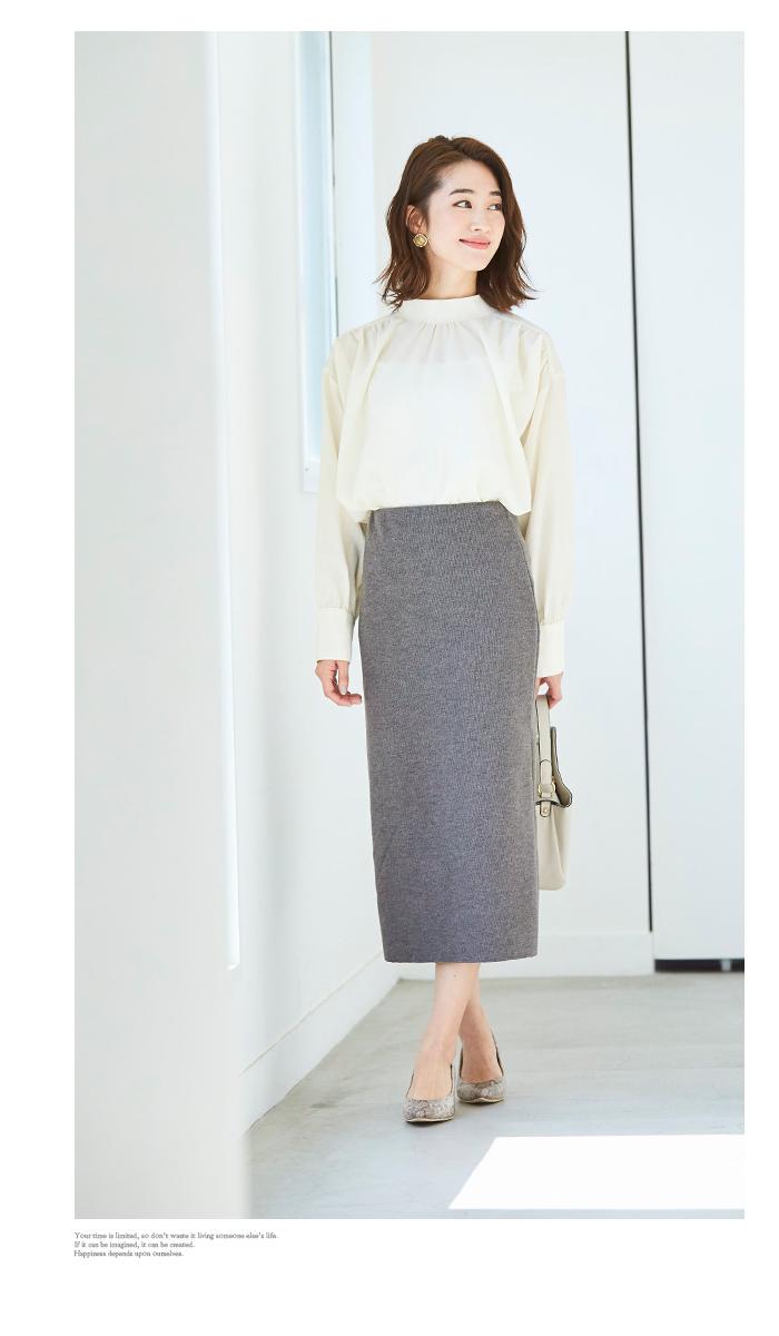ウールボンディングロングタイトスカート5