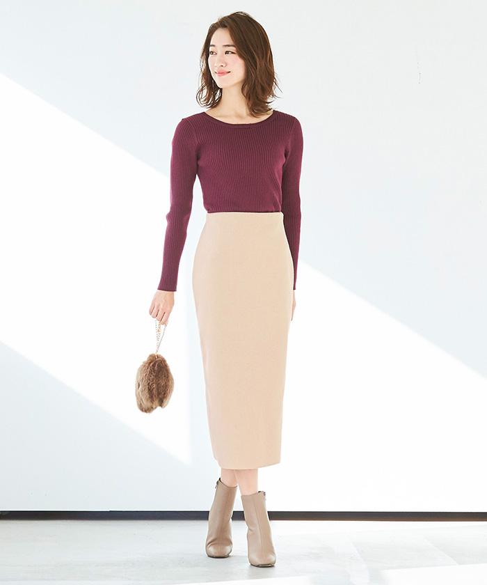 ウールボンディングロングタイトスカート1