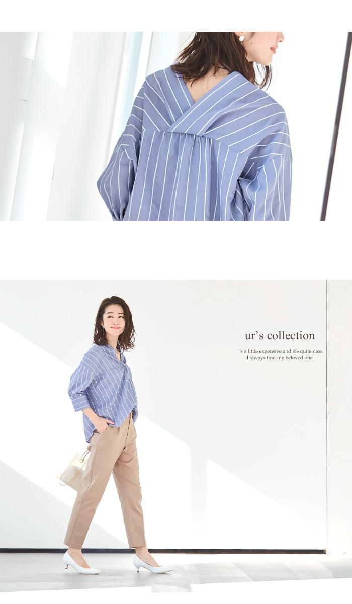 バックタックストライプシャツ2