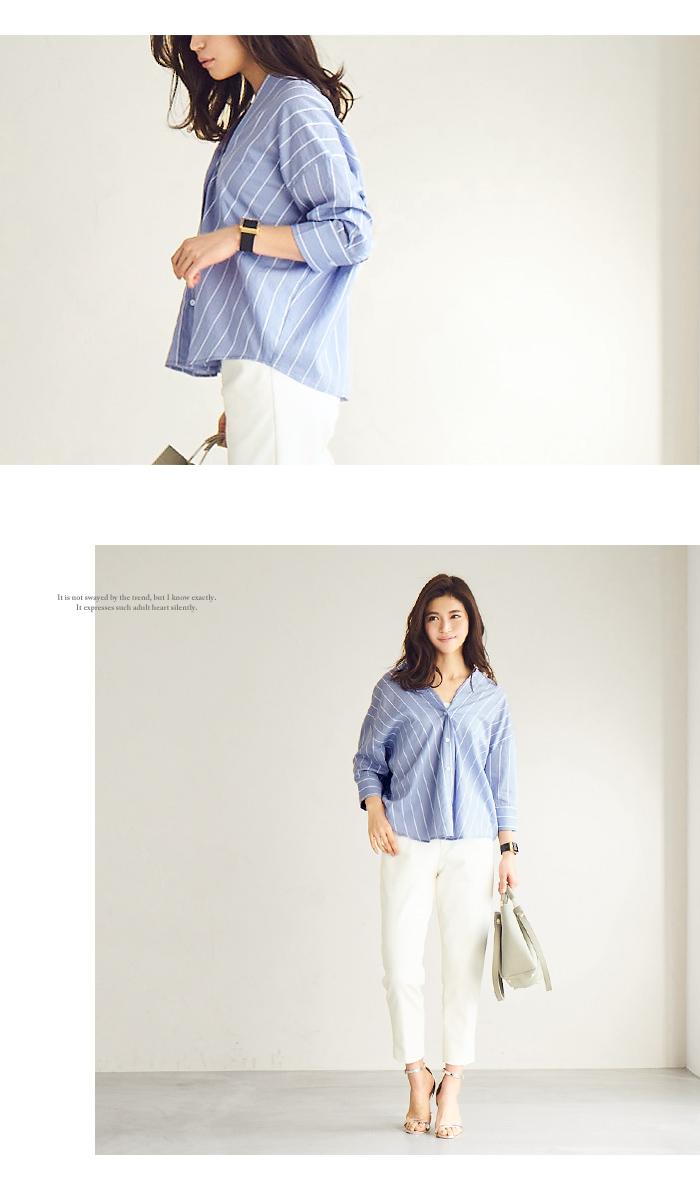 バックタックストライプシャツ5