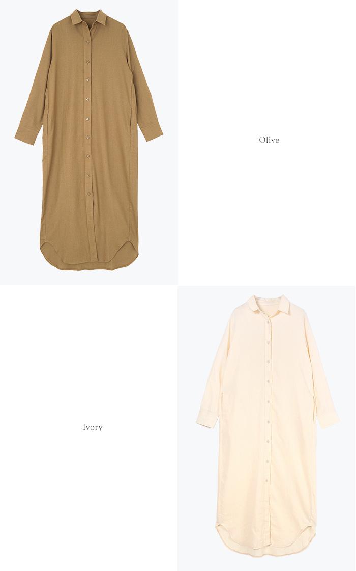 リネン混ロングシャツワンピース13