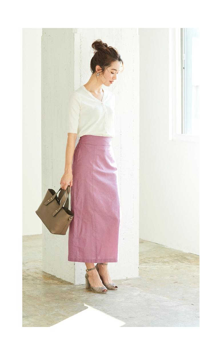 麻混ハイウエストタイトスカート5