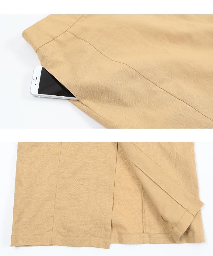 麻混ハイウエストタイトスカート16