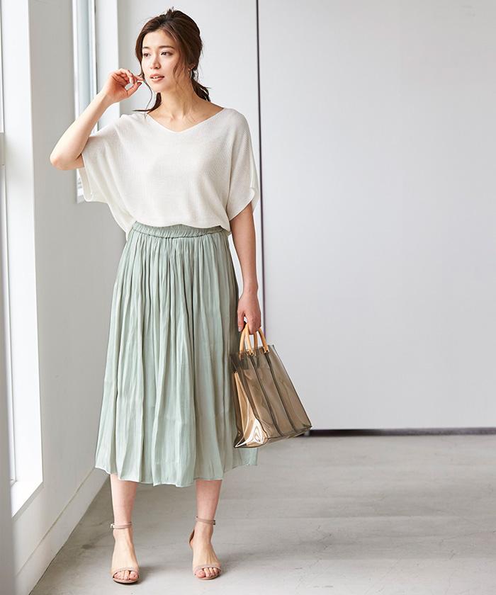 シャイニーギャザースカート1