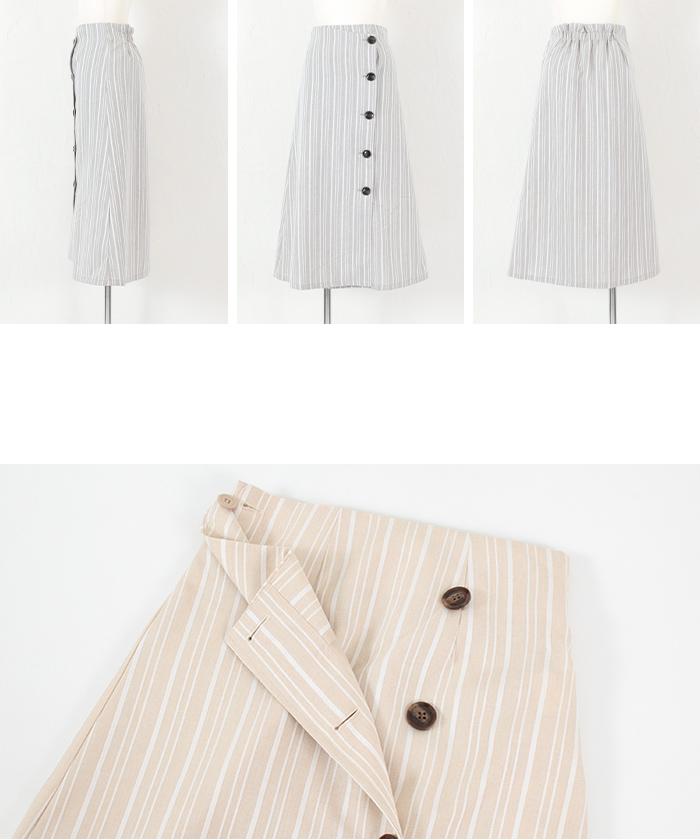 リネンライクストライプラップスカート14