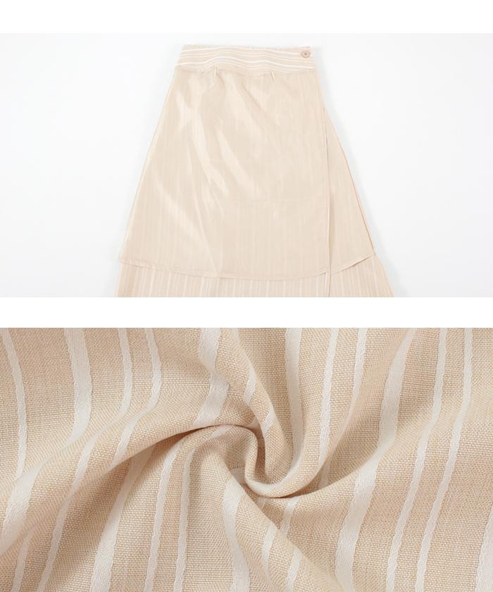 リネンライクストライプラップスカート16
