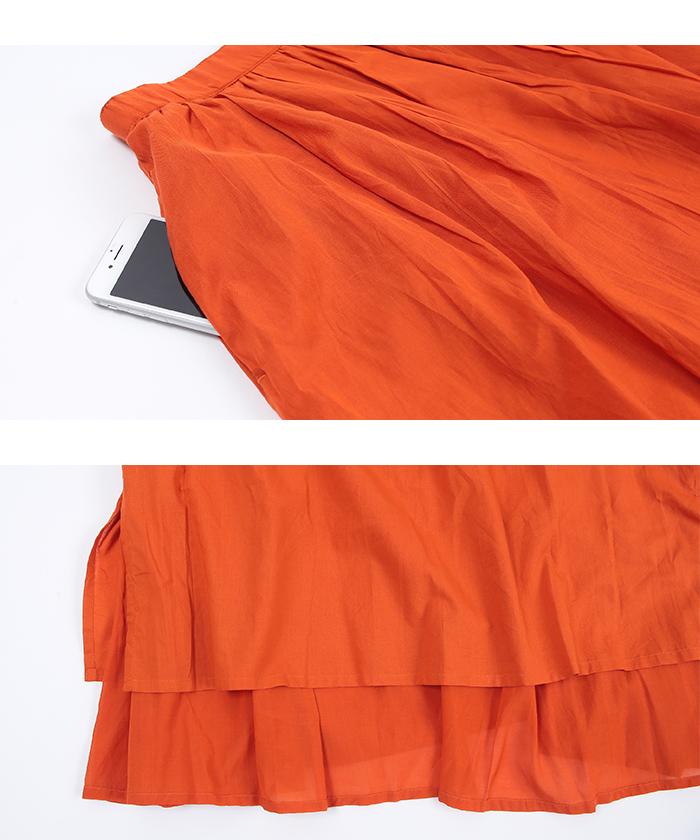 コットンボイルフレアロングスカート15