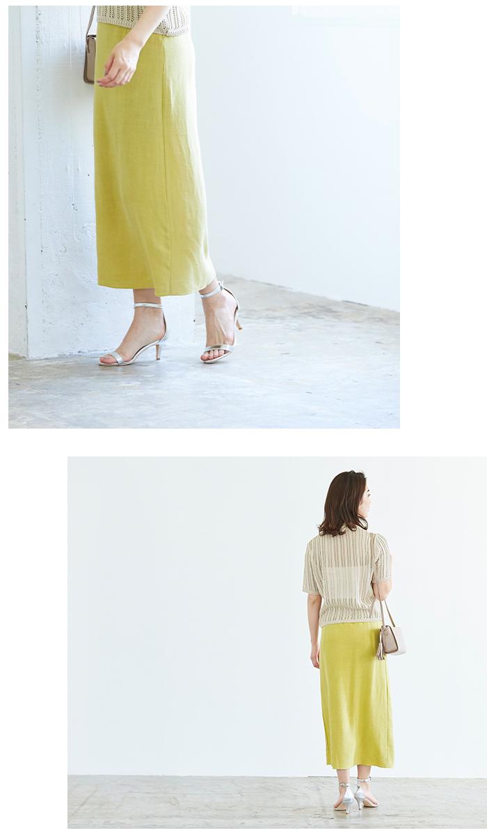 リネンタイトマキシ丈スカート2