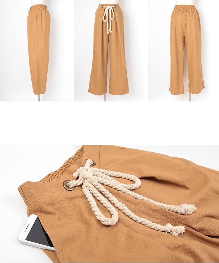 ロープ付き綿麻ワイドパンツ14