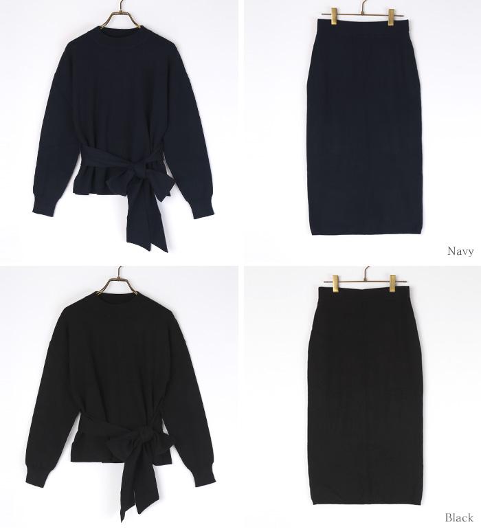リボン付ニット×タイトスカートセットアップ13