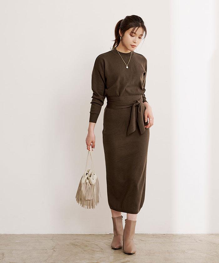 リボン付ニット×タイトスカートセットアップ2
