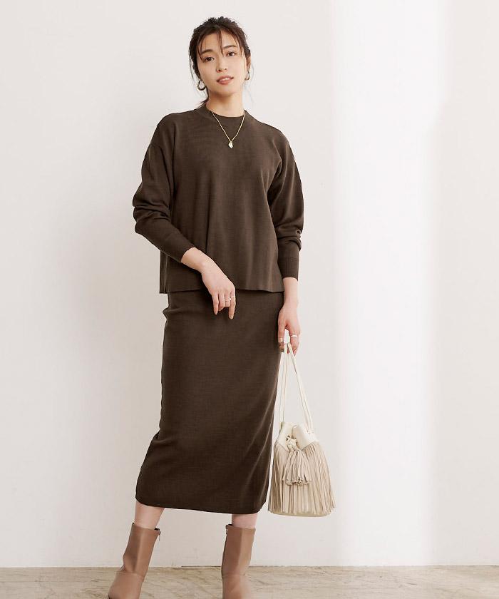 リボン付ニット×タイトスカートセットアップ6