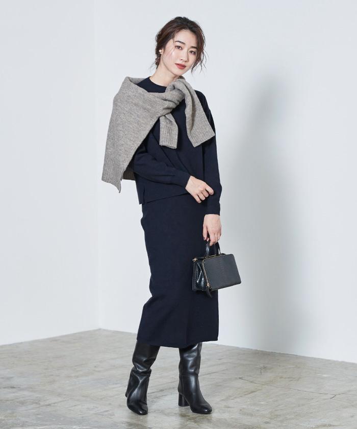 リボン付ニット×タイトスカートセットアップ11