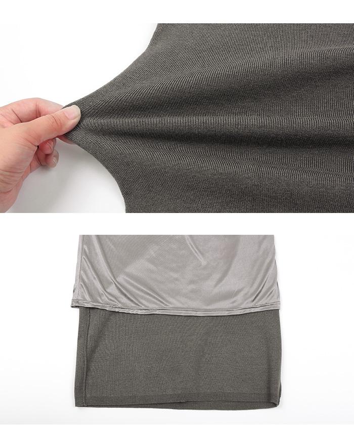 リボン付ニット×タイトスカートセットアップ16