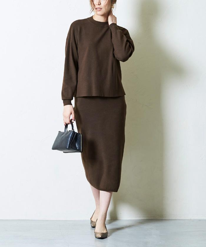 リボン付ニット×タイトスカートセットアップ9