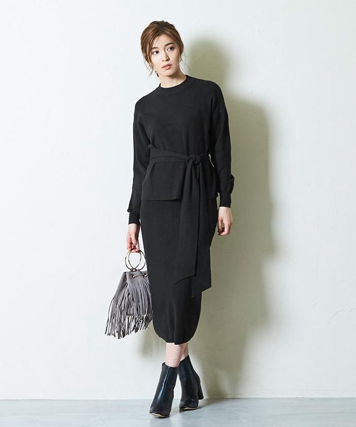 リボン付ニット×タイトスカートセットアップ10