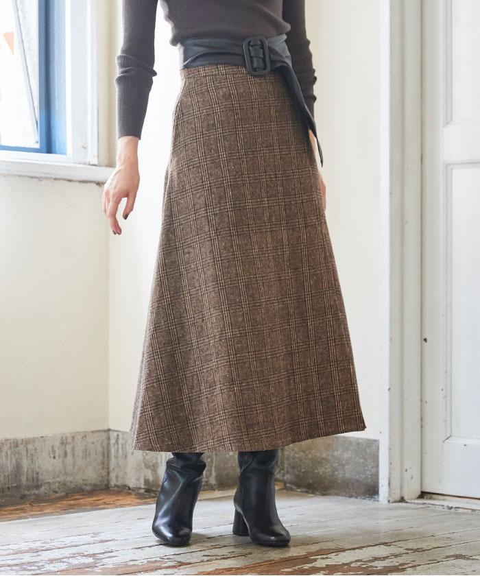チェックラップフレアスカート5