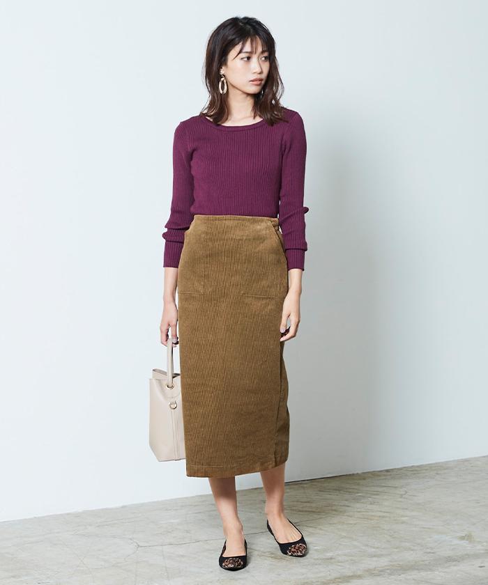 ウエストバックゴムコーデュロイタイトスカート6