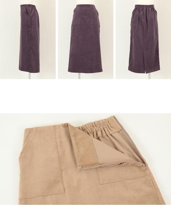 ウエストバックゴムコーデュロイタイトスカート14
